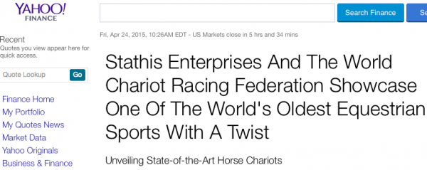 Stathis Enterprises, The World Chariot Racing Federation and Eventsy Featured on Yahoo Finance